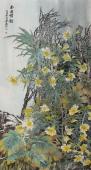 【已售】花鸟画名家李春江六尺竖幅《南国情韵》