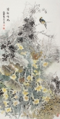 李春江四尺竖幅精品花鸟画《清韵鸣幽》