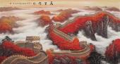 曾庆淮六尺写意长城图 万山红遍山水画《万里雄风》