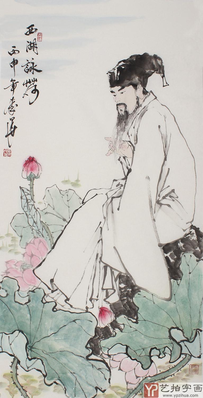 杭州西湖线描画-尺竖幅人物画 西湖咏荷