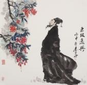 【已售】人物画名家秦华斗方人物画《东坡逸兴》