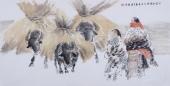 河南美协宋廷君四尺横幅人物画《大漠丰乐行》