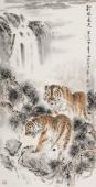 画虎名家杨西沐四尺竖幅老虎《秋水长天》