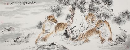 画虎名家杨西沐六尺横幅老虎字画《伏虎禅定图》