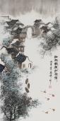【已售】北京美协张春奇山水画《细雨轻梳江南情》