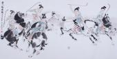 【已售】宋廷君四尺横幅人物画《唐人击鞠图》