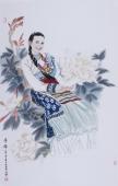 河南美协宋廷君四尺竖幅人物画《芳华》