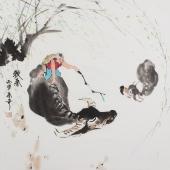 【已售】北京美协张春奇斗方人物画《牧春》