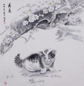 河南美协宋廷君工笔动物画《落花》