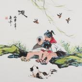 【已售】北京美协张春奇斗方人物画