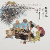 【已售】人物画名家张春奇斗方人物画《静观不语》