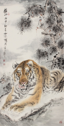 河南美协杨西沐四尺竖幅老虎《镇山》