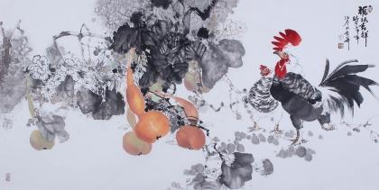 【已售】花鸟画名家闫海春四尺横幅雄鸡图《福禄吉祥》