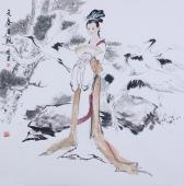 宋廷君斗方人物画《元春省亲》