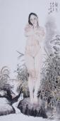 【已售】河南美协宋廷君四尺竖幅人物画《秋水》