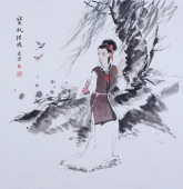 河南美协宋廷君斗方人物画《宝钗扑蝶》