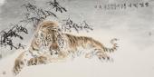 画虎名家杨西沐四尺横幅老虎《坐啸生风》