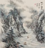 【已售】北京美协张春奇山水画《峡江烟雨》