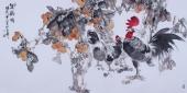 【询价】花鸟画名家闫海春四尺横幅雄鸡图《双鸡图》