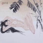 河南美协宋廷君斗方工笔人物画