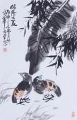 夫妻恩爱 周宣荣写意花鸟画作品《绿蔭之夏》