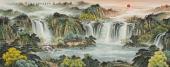 广西美协欧阳六尺横幅聚宝盆山水画《源远流长》