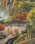 广西美协欧阳六尺横幅聚宝盆《枫叶染尽群山岭》