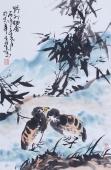 双侣图 周宣荣四尺三开花鸟画作品《野外栖禽》