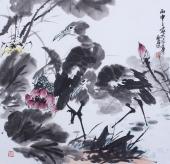 【已售】著名画家周宣荣写意斗方花鸟画作品