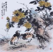 北京美协周宣荣斗方花鸟画《安居乐业》