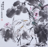 北京美协周宣荣斗方花鸟画《荷塘清趣》