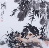 书房字画 周宣荣写意斗方花鸟画《蕉蔭图》