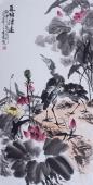 北京美协周宣荣四尺竖幅荷花图《夏塘清逸》