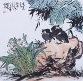 北京美协周宣荣斗方花鸟画《绿荫之下》
