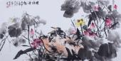 【已售】酒店字画 周宣荣四尺写意荷花图《荷塘清趣》