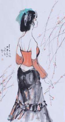 河北美协王智之三尺精品人物画