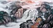 北京美协周升寅六尺横幅山水画《松山飞瀑》