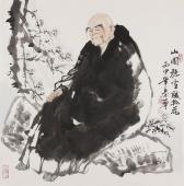 【询价】著名人物画家秦华精品斗方《山园听雪赋桃花》
