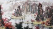 山水协会副主席程冰石六尺书画作品《江山多娇》
