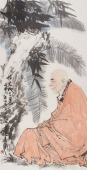 著名画家秦华精品人物画四尺《悟天地之道》