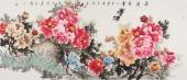 寇萍精品六尺写意国画牡丹《花开富贵》