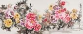 【已售】寇萍六尺横幅写意国画牡丹《富贵平安》