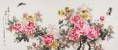【已售】寇萍精品写意国画牡丹六尺《洛阳三月花似锦》