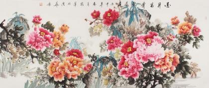河南美协花鸟名家寇萍六尺国画牡丹《花开富贵春满庭》