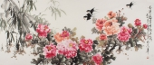 客厅字画 寇萍精品写意牡丹《花开富贵竹报平安》