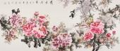 【已售】河南美协寇萍六尺国画牡丹画《紫气东来》