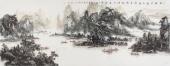 一级美术师杨秀亮六尺山水画《千峰松涛水长流》