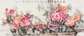 【已售】画家寇萍写意花鸟画 六尺国画牡丹画《富贵平安》