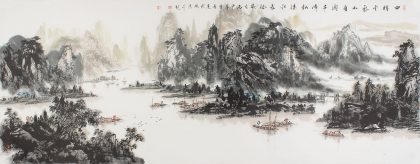国家一级美术师杨秀亮六尺山水画《千峰松涛水长流》