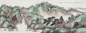 曲胜利青绿山水画作品小六尺横幅《清谷幽泉》